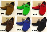 Men's TAYNO suede loafers slip on shoes tan green red brown navy black ARAMIS