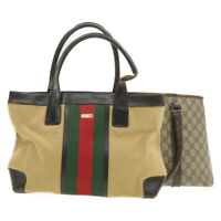 GUCCI Web Sherry Line GG Canvas Tote Bag 2set Beige Red Green Auth th901