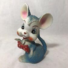 Arnart Mouse Figurine Sugar Popcorn Texture Anthropomorphic Blue Ceramic Vintage