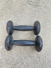 Vintage Pair BFCO 5 LB Dumbbells 10 LB Total Weight Iron
