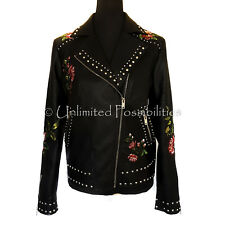 SPORTSGIRL Embroidered Biker Jacket PU Black Floral New Size 10 with Tags
