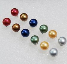 6pairs 6Color 7-8mm Multi-Colored Akoya Cultured Pearl Silver Stud Earrings AAA