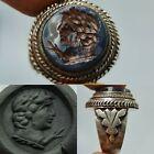 Roman Silver  Ring sassanian  agate intaglio stone rare Ring   1