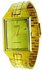 New Old Stock Rectangular Citizen Gold Dial S.Steel Water-R Watch 1032-R95152-KA