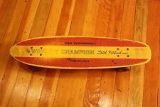"Vintage Rare Skitch Hitchcock ""World's Champion"" Yellow Fiberglass Skateboard"