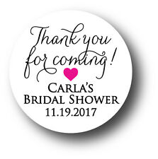 30 Bridal Shower Personalized Stickers - Thank you for coming! with heart