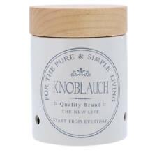Knoblauchtopf Keramik Weiß Knoblauch Holz-Deckel Vorratsdose Aufbewahrungsbox
