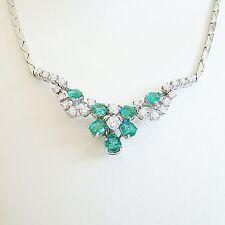 Collier Gold 585 0,67 Brillanten Smaragde Goldcollier 14 kt Halskette Diamant