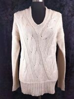 Ann Taylor Loft Womens Tunic Sweater M Beige V Neck Cable Knit Long Sleeve Wool