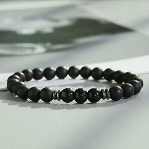 Black Tourmaline Matte Agate Stone Yoga Beaded Energy Women Men's Bracelets Gift