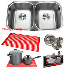"32"" Stainless Steel Double 50/50 Bowl 18 Gauge Undermount Kitchen Sink Dish Rack"