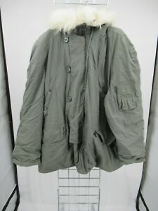 H1986 VTG USA ARMY Flying N-3B Could Weather Fur Hood Military Parka Jacket XL