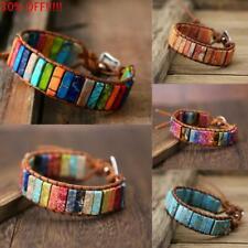 7 Chakra Natural Stone Tube Beads bohemian Multi Color Leather Wrap Bracelet~