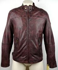 CAMEL ACTIVE 5313 Leather Jacket Lederjacke Herren Bordeaux Gr.50 NEU mit ETIKET