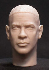 "CUSTOM Denzel Washington RESIN UNPAINTED HEAD SCULPT.  1/6 scale. 12"". A-67"