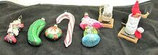 Lot of 7 Glass Wooden Christmas Ornaments Radko Stocking Pickle Flamingo Smores