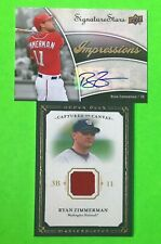 RYAN ZIMMERMAN 2009 UPPER DECK SIGNATURE STARS AUTOGRAPHED, UD JERSEY 2 CARD LOT