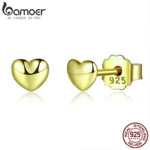 BAMOER S925 Sterling Silver Stud Gold Earrings Petite Plain Hear Women Jewellry