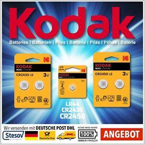 Kodak 1,5-3V LR44, CR2430, CR2450 im Blister Batterien Knopfzellen