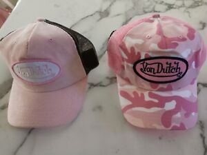 Two Caps Von Dutch / Adult Adjustable Size Trucker Hats x 2 Pink New With Tags