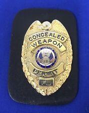 Vintage Florida Concealed Weapons Permit Metal Badge + Clip Holder (1B)