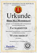 DDR Facharbeiterbrief Diplom Urkunde Zeugnis, Auszeichnung Geburtstag - UK-1246