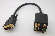 10pcs DVI-I Male to VGA/RCA RGB Component Dual Female Y-Splitter Adapter Cable