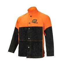 Sa Heavy Duty Hybrid Welding Jacket Cotton And Suede Leather Orangeblack
