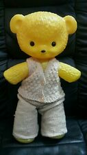 Vntg. Bear Doll Toy Plastic - Fabric Famous Russian Cartoon Character Ussr Cccp