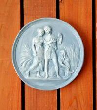 Vintage Roman Greek Plaster Wall Hanging Plaque Wheat Harvest Scythe Medallion