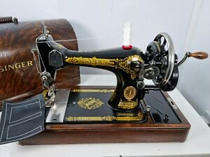 VINTAGE SINGER 28K HANDCRANK SEWING MACHINE, FULLY SERVICED for LEATHER & FABRIC