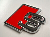 Audi S Metal Red Badge Emblem Decal Quattro Rear Boot A3 A4 A5 A6 A8 S3 S4 S5 S8