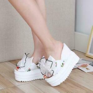 Womens Bowtie Wedge High Heel Platform Slippers Sandals Open Toe Shoes  Summer