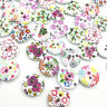 50/100pcs Spring Flowers Wood Buttons 15mm Sewing Craft Mix Lots WB690