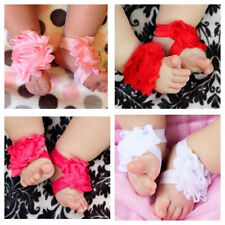 Flower Sandals Baby Girl Shower Gift Toe Blooms Newborn Photo Prop Fancy Feet