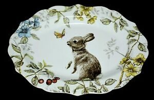 """Pier 1 Imports Sofie The Bunny Floral w/Butterfly 14"""" Porcelain Serving Platter"""