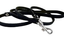 "Genuine Leather Dog & Cat Leash 45"" long 3/8"" wide Black Small XSmall"