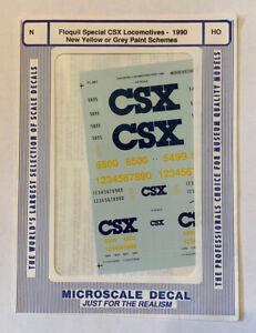 MICROSCALE HO & N DECAL MINICAL-CSX 1990 ERA DIESEL LOCOMOTIVES-YELLOW OR GRAY