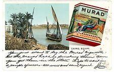 Cairo Egypt -BOAT ON NILE- Murad Turkish Cigarettes Advertisement Postcard AD