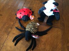 TY Beanie Babies 1993-1996  Spinner , Lucky, Fortune w/ tags spider ladybug bear