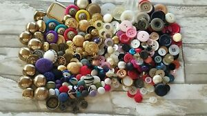 Vintage Sewing Buttons Lot Loose Plastic Metal Cloth Covered
