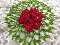 Vintage Hand Crocheted Doily, Round,White,Red,Green,Shabby Chic,Rose,Scalloped