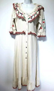 celiaB long Floral embroidered crochet Long Sleeve cotton Maxi dress Size M