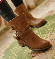 Ladies Motorcycle Pleated Round Toe Casual Ankle Boots Cuban Heel Fashion Shoes