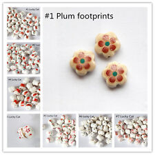 10PCS 12 x14 MM ROUND PORCELAIN CERAMIC LUCKY CAT BEADS FOR JEWELLERY MAKING