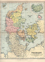 Antique Map Of Denmark C1889