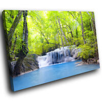 SC395 Blue Green Forest Waterfall Nature Canvas Wall Art Large Picture Prints