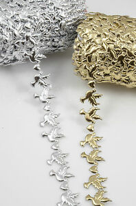 YARD * Dove Hearts Embossed Satin Silver & Gold WEDDING Trimming Lace Ribbon
