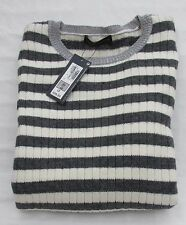 LADIES MARKS AND SPENCER  GREY AND CREAM STRIPE LONG SLEEVE JUMPER  SIZE 20