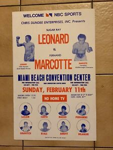 1979 Sugar Ray Leonard Vs.  Marcotte Vintage Onsite Boxing Poster MINT Condition